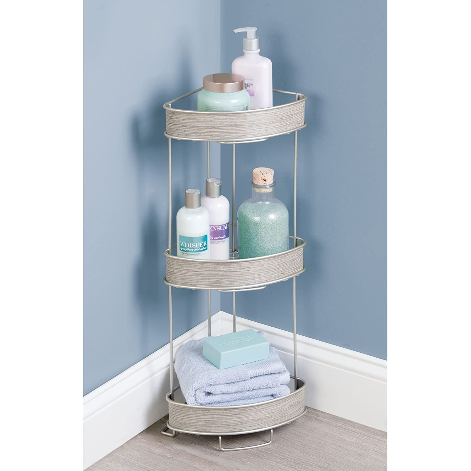 Amazon.com: mDesign Free Standing Corner Shelf with Three Tiers for ...