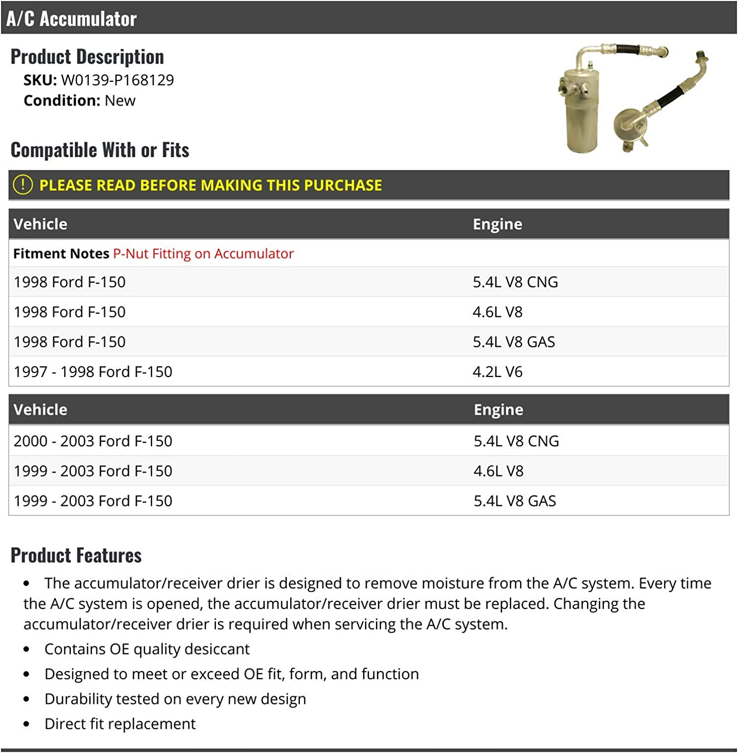 A/C Accumulator/Receiver Drier Compatible with 1997-2003 Ford F ...