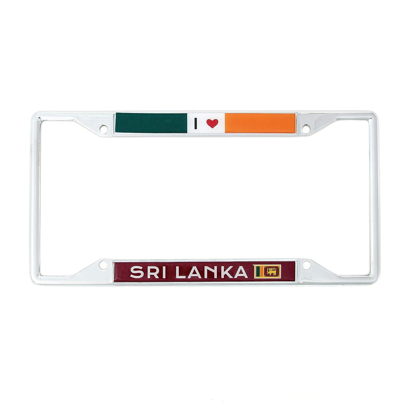 Desert Cactus Country of Sri Lanka I Heart Love License Plate Frame for Front Back of Car Vehicle Truck Sri Lankan