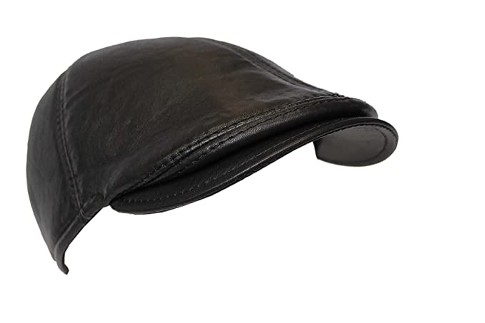 b5315356ef8 Men Leather Ivy Cap Black Lambskin Bunnet Newsboy Baker BOY Beret Cabbie  Gatsby Flat Golf Hat  Amazon.co.uk  Clothing
