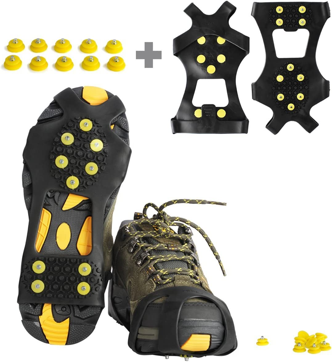 willceal Ice Cleats, Ice Grippers Traction Cleats Shoes and Boots Rubber Snow Shoe Spikes Crampons with 10 Steel Studs Cleats Prevent Outdoor Activities from Wrestling