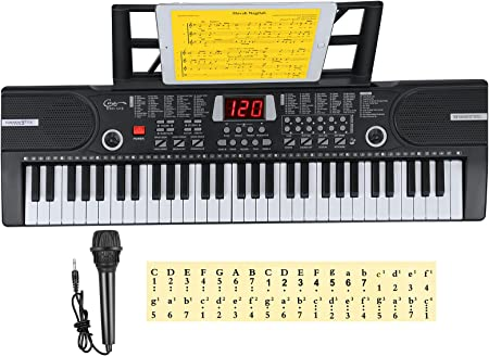 Teclados electrónicos para el hogar de 61 teclas con acompañamiento automático, teclado de piano digital portátil con soporte y micrófono, regalo para ...