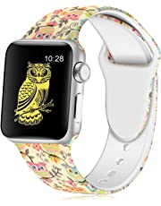 KOLEK Floral Bands Compatible with iWatch 38mm/42mm/40mm/44mm, Silicone Fadeless Pattern Printed Replacement Bands for iWatch Series 4/3/2/1, S/M M/L for Women/Men