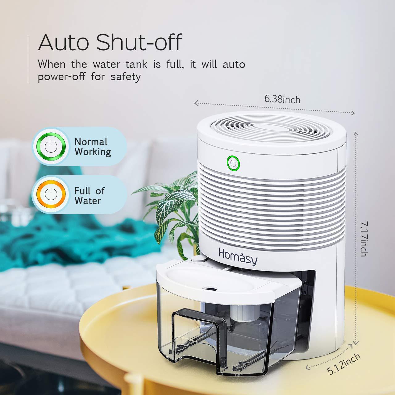 Closet 2200 Cubic Feet Bedroom RV Homasy Mini Dehumidifier Electric Small Dehumidifier Portable with Quiet Auto Off Compact Design for Bathroom 220 sq ft Basement