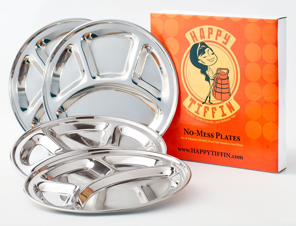 4-Pack STAINLESS STEEL Plate: 9.5 wide | Divided Plates | Kids Plates | Camping Plate | Reusable Plates