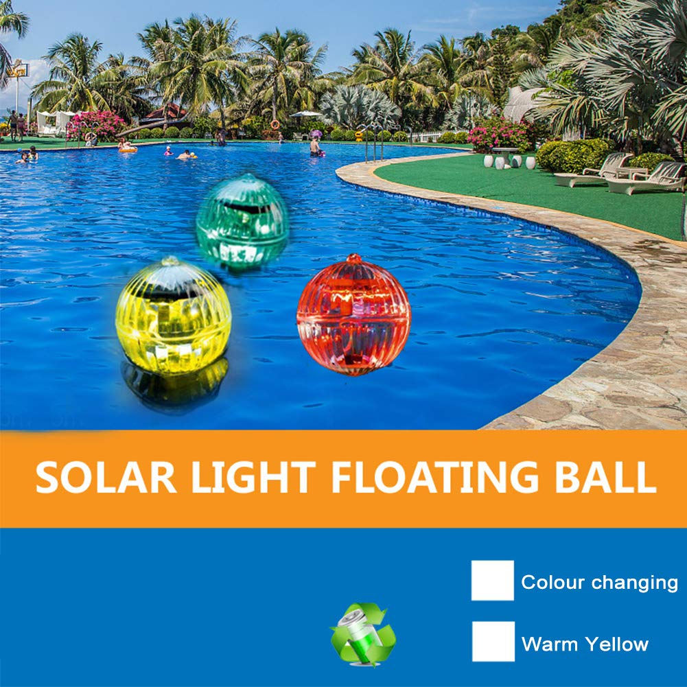 GETMORE7 Solar Floating Pond Light Waterproof LED Color Changing Solar Garden Pool Light Hanging Ball Light with ABS Plastic for Garden Yard Swimming Pool Fountain Fish Tank 10cm,Colorful