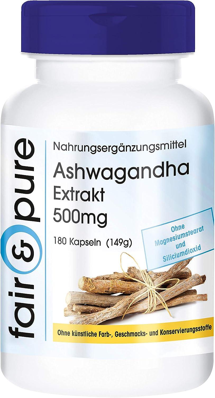 Extracto de Ashwagandha 500mg - Vegano y natural - 5% de withanólidos - Alta pureza - 180 Cápsulas