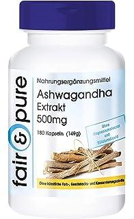 180 cápsulas vegetarianas de extracto de ashwagandha (500 mg) - Sustancia pura y sin