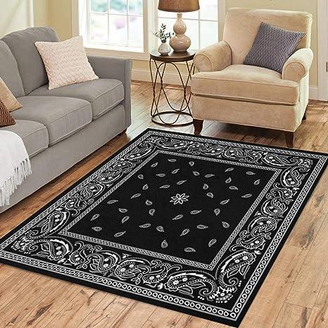 Semtomn Area Rug 5 X 7 Colorful Paisley Black Bandana Pattern Border Bandanna Scarf White Home Decor Collection Floor Rugs Carpet For Living Room
