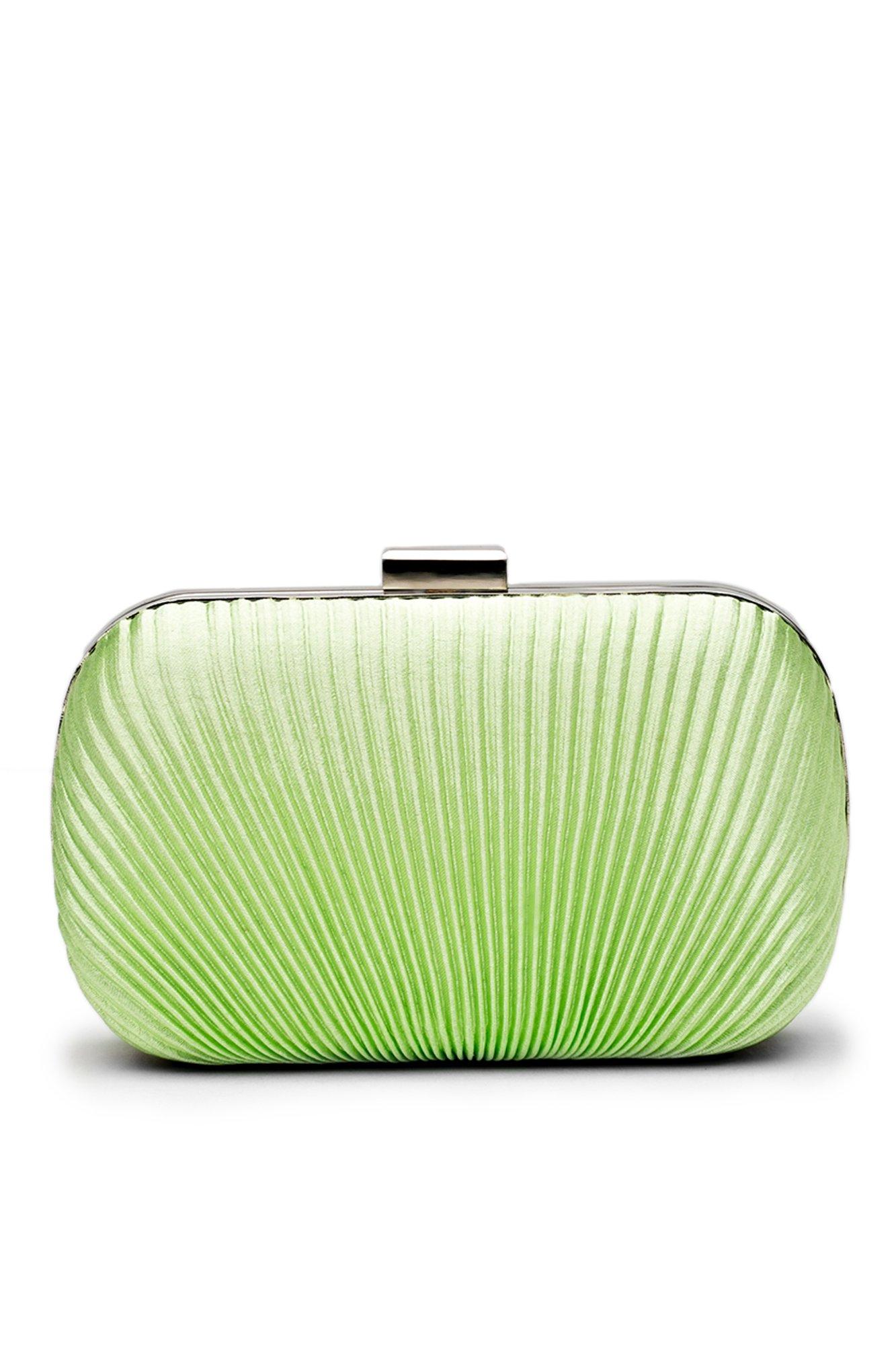 Women Clutch Purse Wallet Hard Case Satin Evening Bag Handbag With Chain Strap (Green)