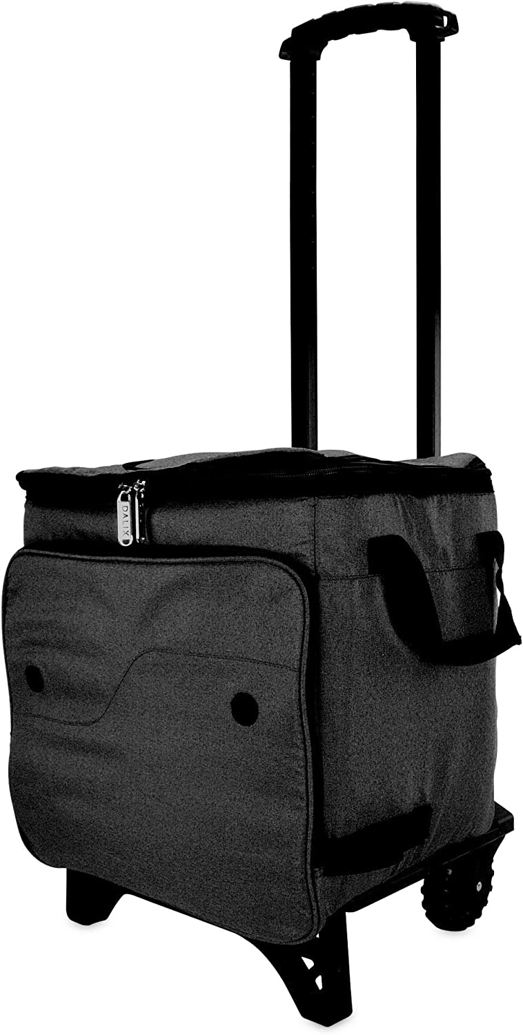 DALIX Rolling Cooler Thermal Insulated Trolley Bag Sports Leak Proof in Black