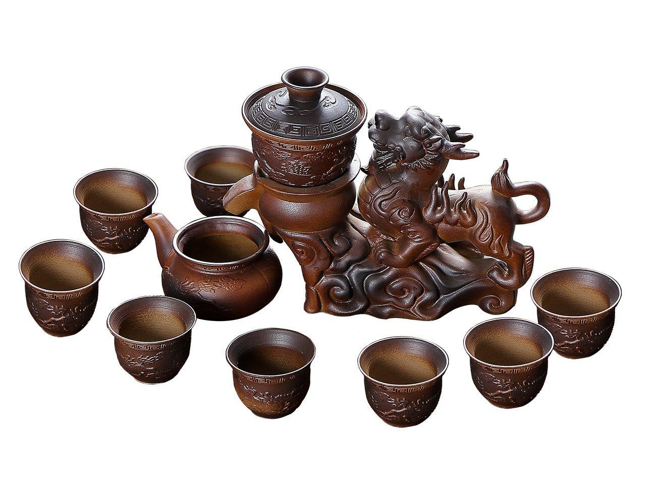 Ufine Chinese Gift Tea Service Ceramic Firewood Coarse pottery Kylin Fortune Automatic Handmade Dehua Porcelain Kongfu Hot Tea Set of 11 Gift Box for Business Friend Adult Men