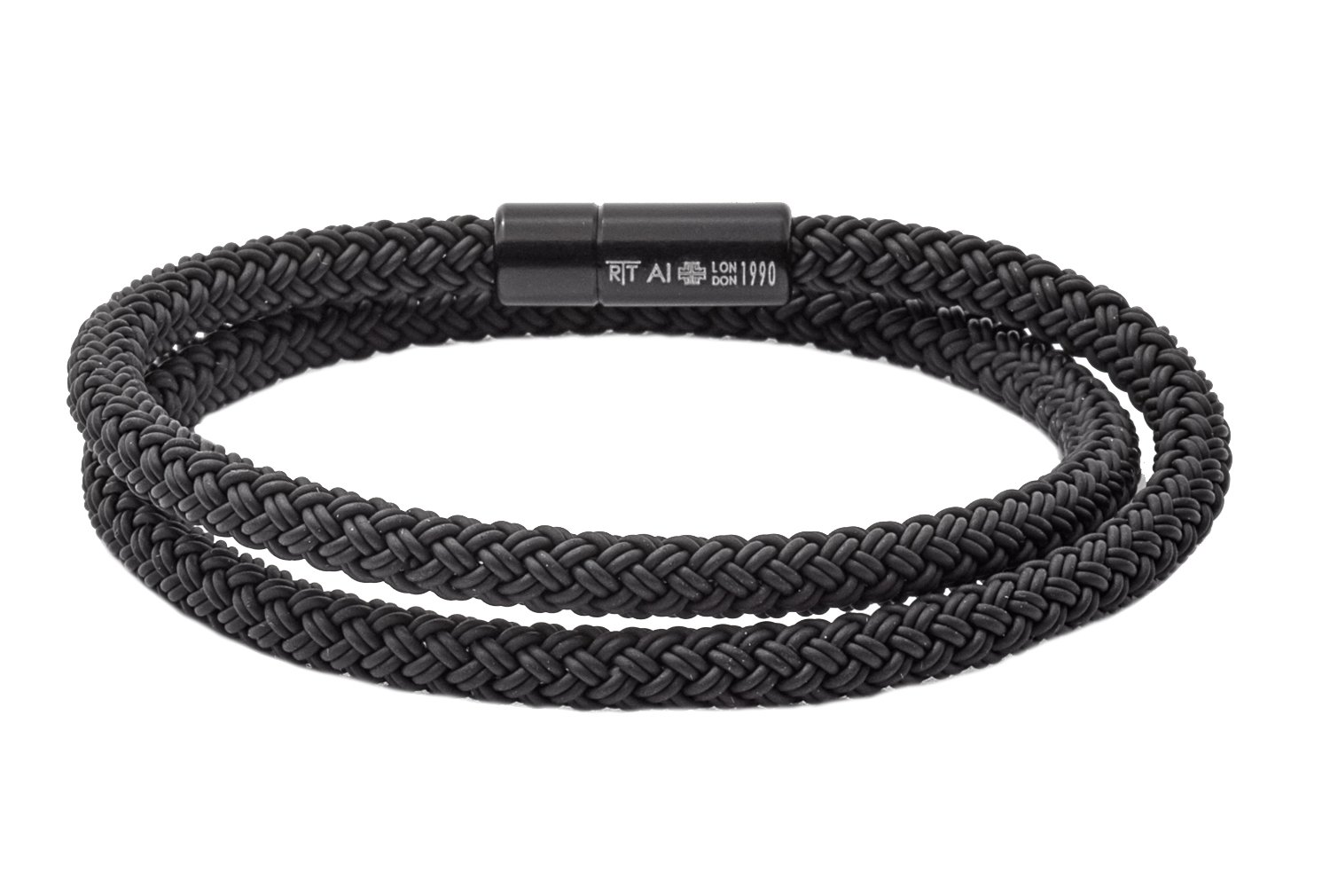 Tateossian RT Rubber, Double Wrap Braided Cable Bracelet with Anodised Aluminum Clasp - Black, Large 41cm