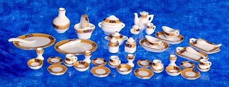 Dollhouse Tea Set 50 Pcs Blue Floral Aztec Imports