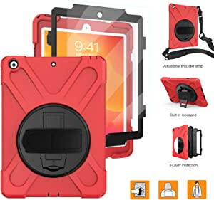 iPad 10.2 Case, BRAECNstock New iPad 10.2 Case 2019(7th Generation)[Built-in Screen Protector] Heavy Duty Shockproof with Kickstand/Hand Strap Rugged Case for iPad 2019 10.2-Red