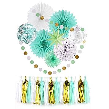 Easy Joy Decoration Chambre Vert Menthe Kit Papier Rosace Guirlande ...