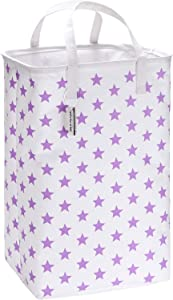 "Sea Team 23.6"" Large Size Canvas Fabric Laundry Hamper Collapsible Rectangular Storage Basket with Waterproof Coating Inner and Handles, Purple Star"