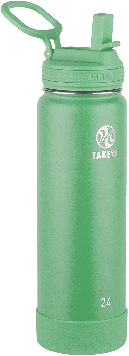Takeya Actives Insulated Water Bottle w/Straw Lid, Mint, 24 Ounces