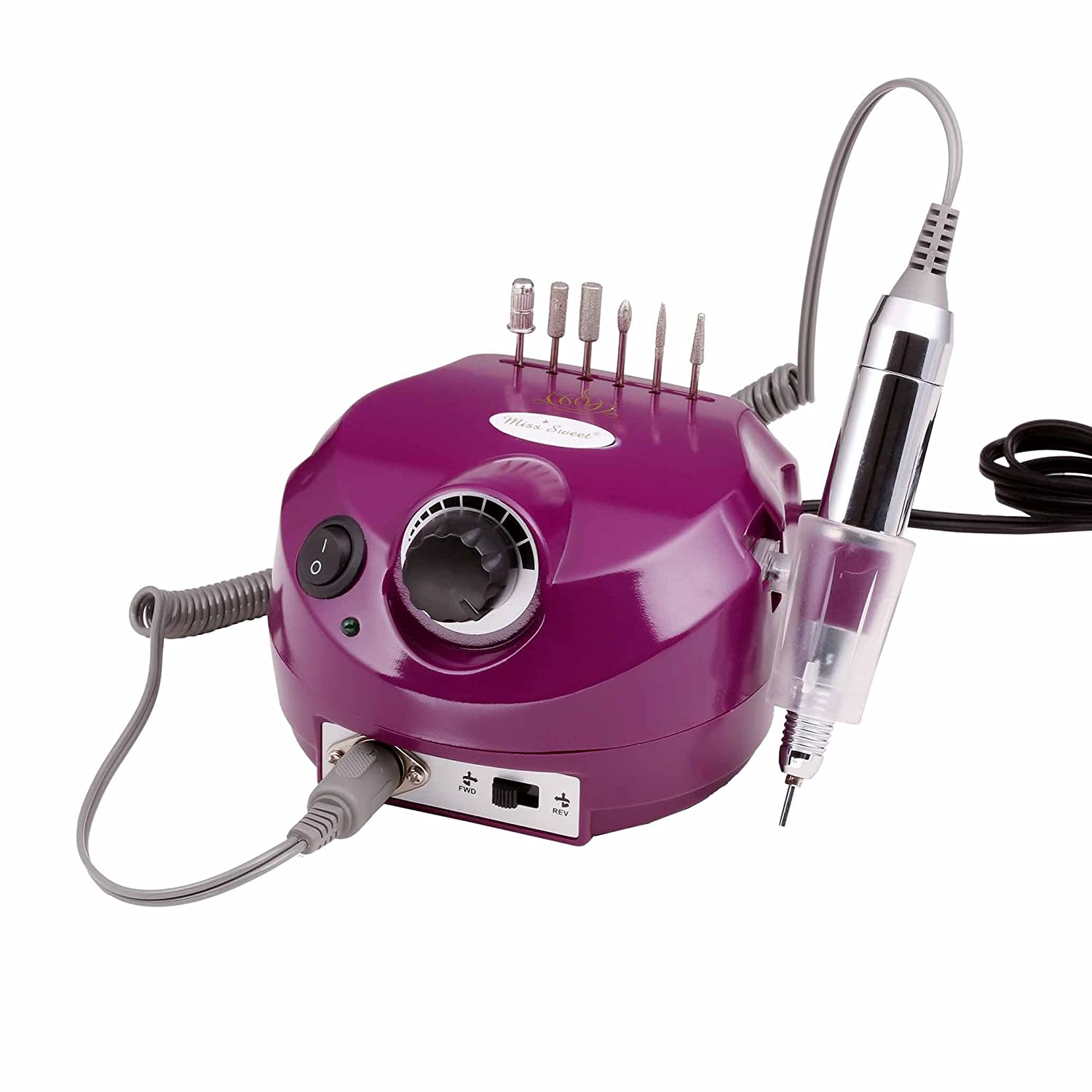 Miss Sweet Professional Electric Nail Drill Electrical Nail File for Acrylic Nails 30000RPM (Purple)