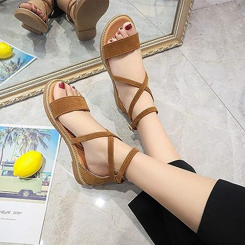 Xmiral Strandschuhe Damen Cross Belt Flache römische Schuhe