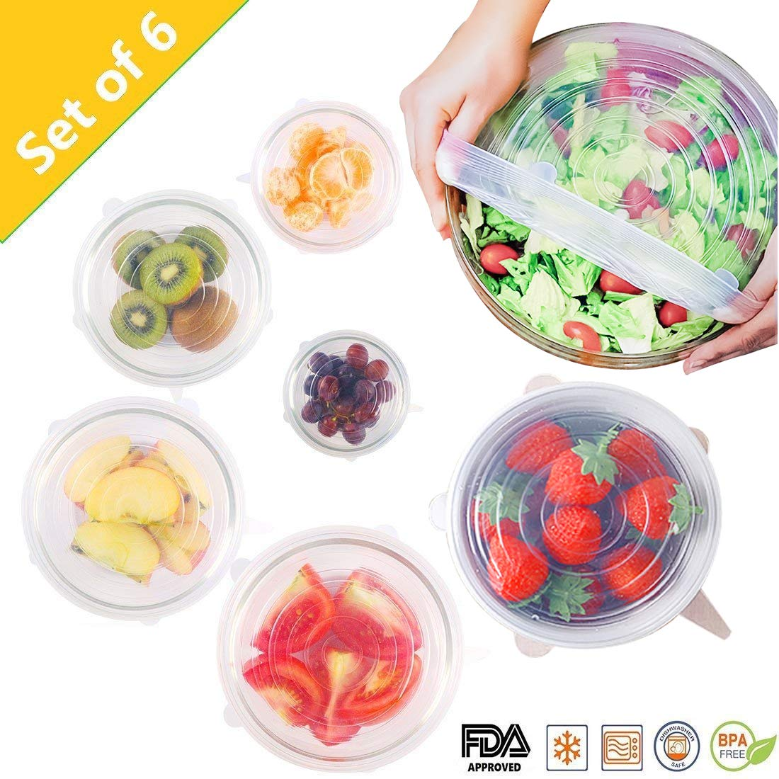 MONBAR Silicone Stretch Lids, 6-Pack of Various Sizes Silicone Bowl Covers Reusable Durable and Expandable for Container,Bowl,Can,Cup and Dishwasher,Freezer,Microwave Safe,Transparent