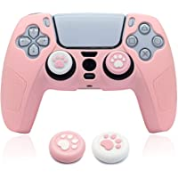 PS5 Controller Skins Pink, BRHE Cute Silicone Protective Cover Rubber Case Kawaii Protector Accessories Set for…