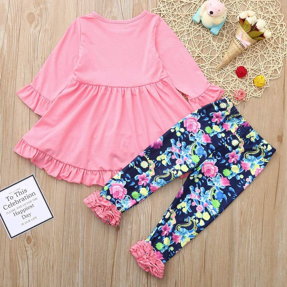 JERFER Kinderbe Kleidung Set M/ädchen Kleid Hemd und Blumen Hose Set