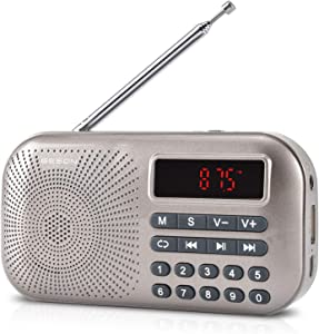 GESON RM-155Pro AM FM Radio Portable Mini USB Speaker MP3 Music Player Supports Micro SD/TF auto scan Save LED Display USB Data Transmission and Sound Card Function, Rechargeable BL-5C Battery (Gold)