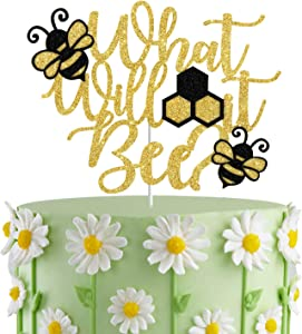 What Will It Bee? Cake Topper, Bee Gender Reveal, Mommy to Bee Cake Decor,Bee Themed Baby Shower, HoneyBee Party Decorations