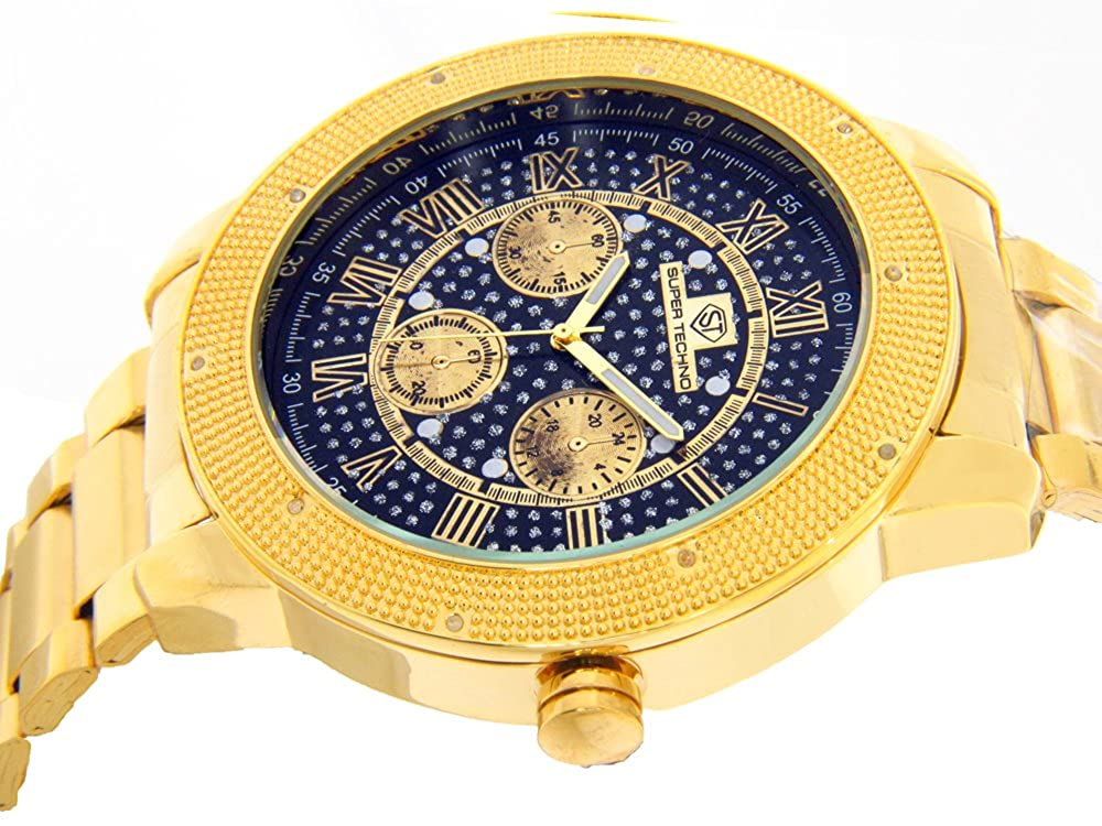 Super Techno Diamond Watch Mens Genuine Diamond Watch Oversized Gold Case Metal Band w 2 Interchangeable Bands
