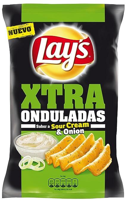 Lays Patatas Fritas Extra Onduladas con Sabor a Crema y Cebolla - 147 g