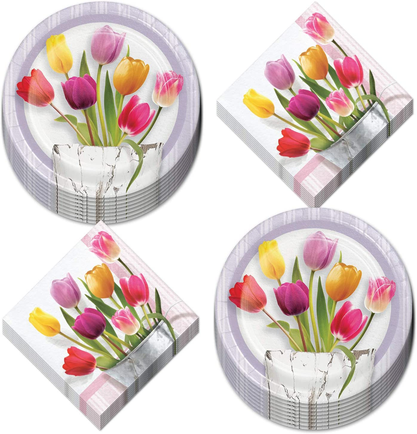 Spring Tulips Watering Can Paper Dessert Plates and Beverage Napkins (Serves 16)