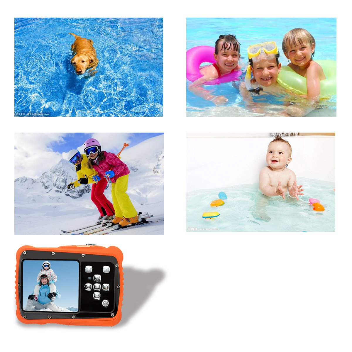 Underwater Action Digital Camera Camcorder for Kids, waterproof 3M/9.8ft, 5 MP CMOS 12MP 1080p, Orange by Oikkei (Image #4)
