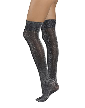 34511d5628a5c WOMEN GIRL OVER THE KNEE SOCKS | THIGH HIGH SOCKS WITH SILVER LUREX | BACK  TO