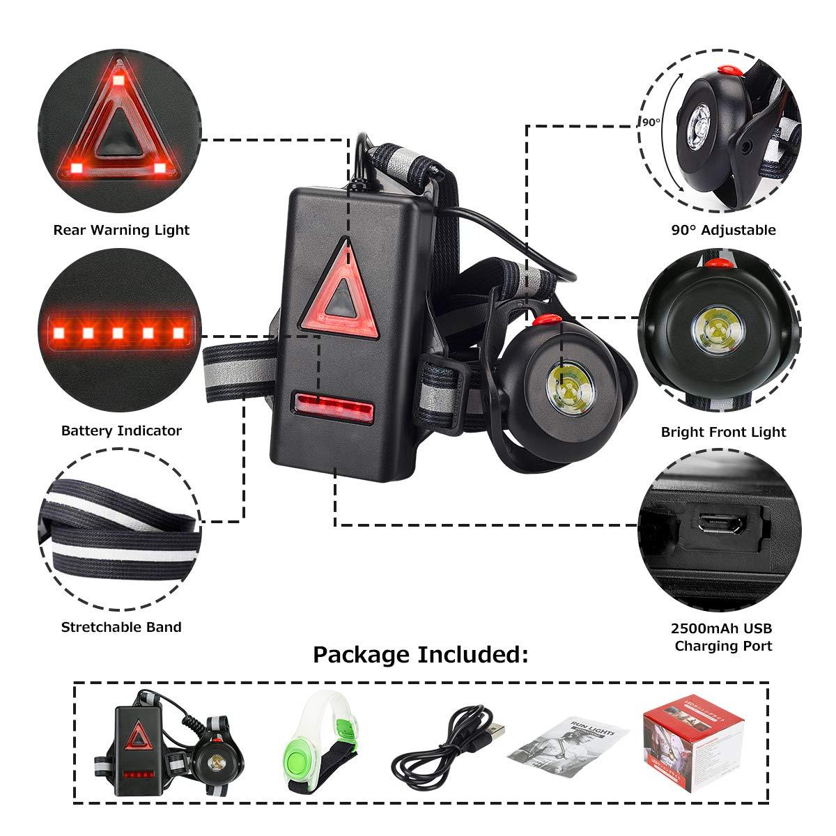 500 lumens Anecity Lampe de Course Angle de Faisceau r/églable /à 90/° Enfants R/étro/éclairage /étanche Sangle r/églable pour Coureurs Lampe Torche LED Rechargeable par USB