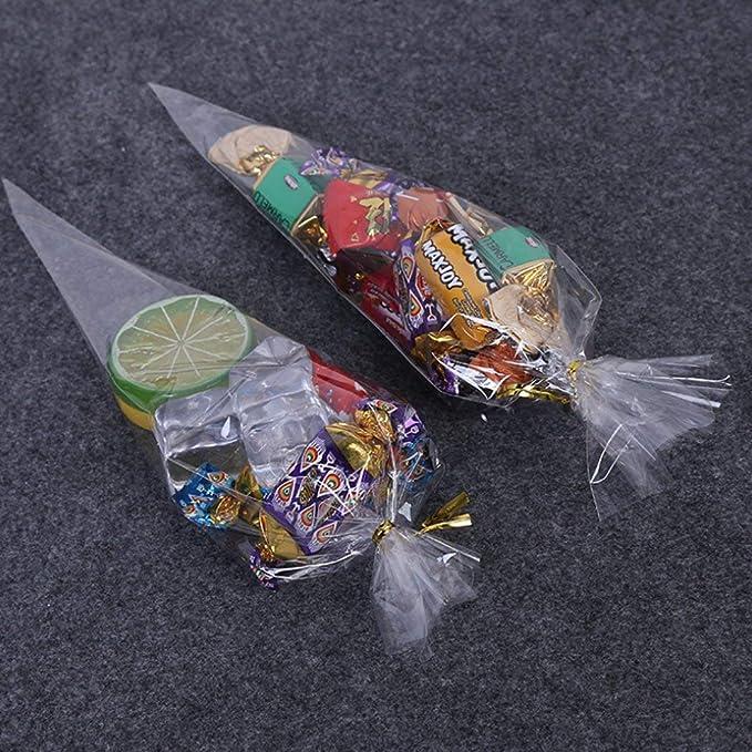LABOTA 200(18 * 37cm) Bolsas de Cono Transparentes Bolsas de Celofán y 200 Precintos para boda cumpleaños navidad víspera fiesta, 14,6 por 7,2 ...