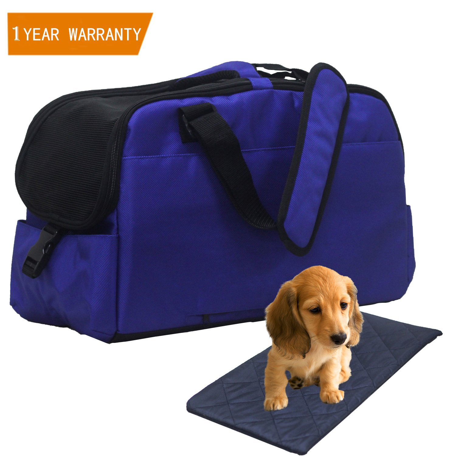 Pet Carrier, Airline Approved Soft Sided Travel Bag for Small Dogs and Cat Under Seat Portable & Foldable Animal Tote With Airy Windows Locking Zippersand Spacious Soft Pad for Puppies, Kitten Blue