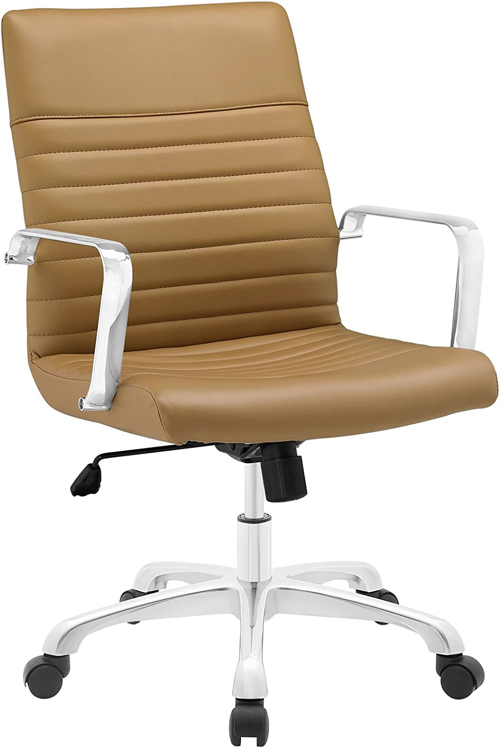 Modway Finesse Ribbed Faux Leather Mid Back Ergonomic Swivel Computer Desk, Tan