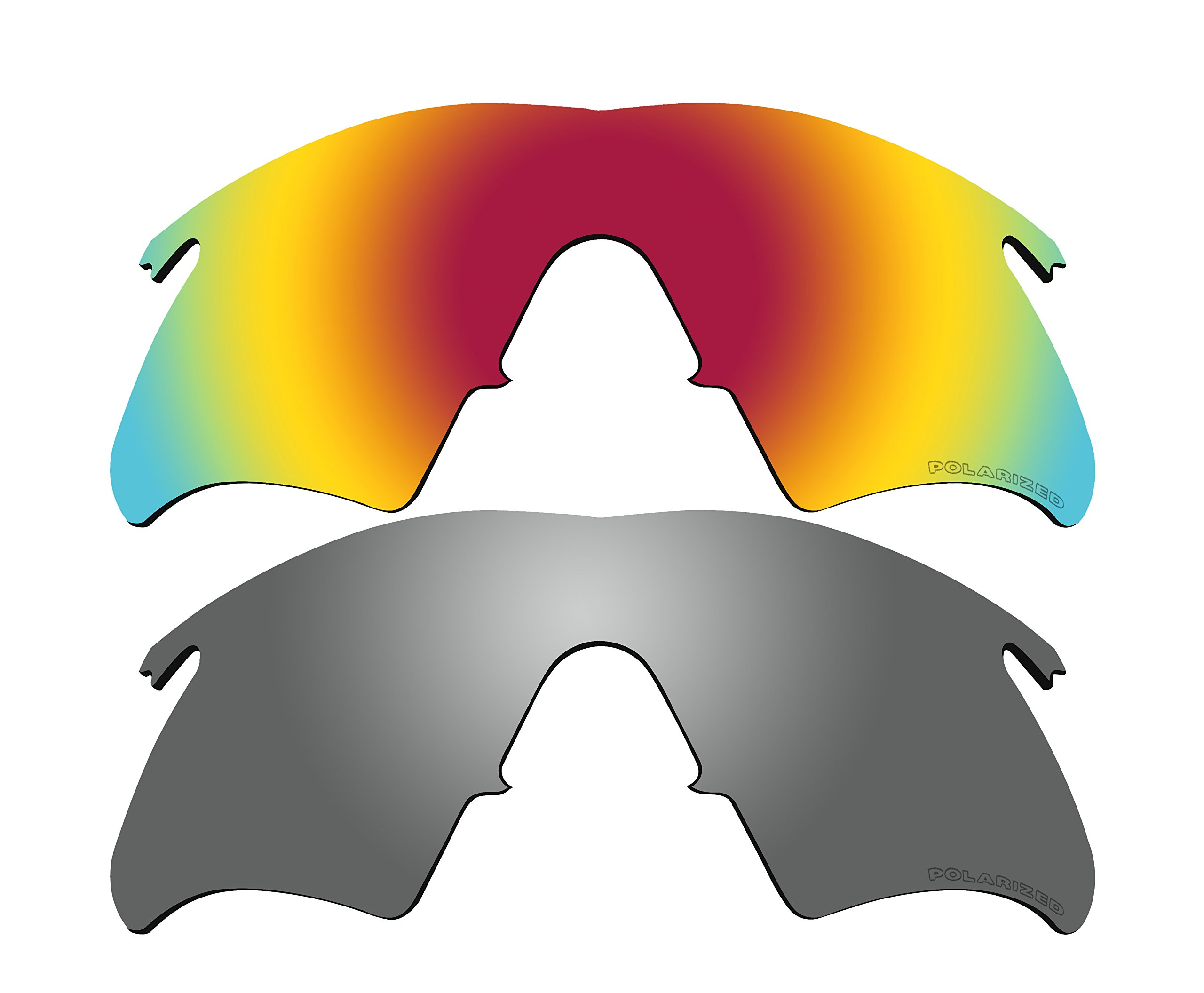2 Pairs Polarized Lenses Replacement Red & Black Mirror for Oakley M Frame Heater, New (1999) Sunglasses