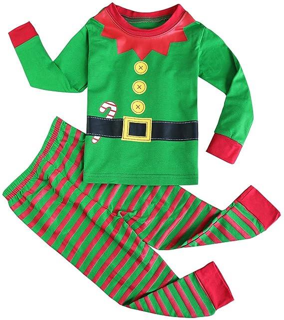 Fancyinn Chicos Chicas Conjuntos de Pijamas de Navidad Niños pequeños Reno Disfraz Manga Larga Ropa de Dormir Traje de Dormir Verde 110: Amazon.es: Ropa y ...