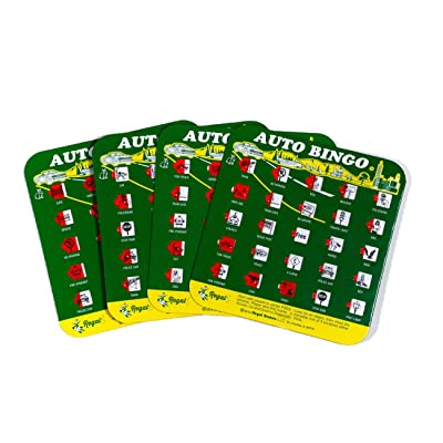 Green Auto Backseat Bingo Pack of 4 Bingo Cards Great For Family Vactions Car Rides and Road Trips: Toys & Games