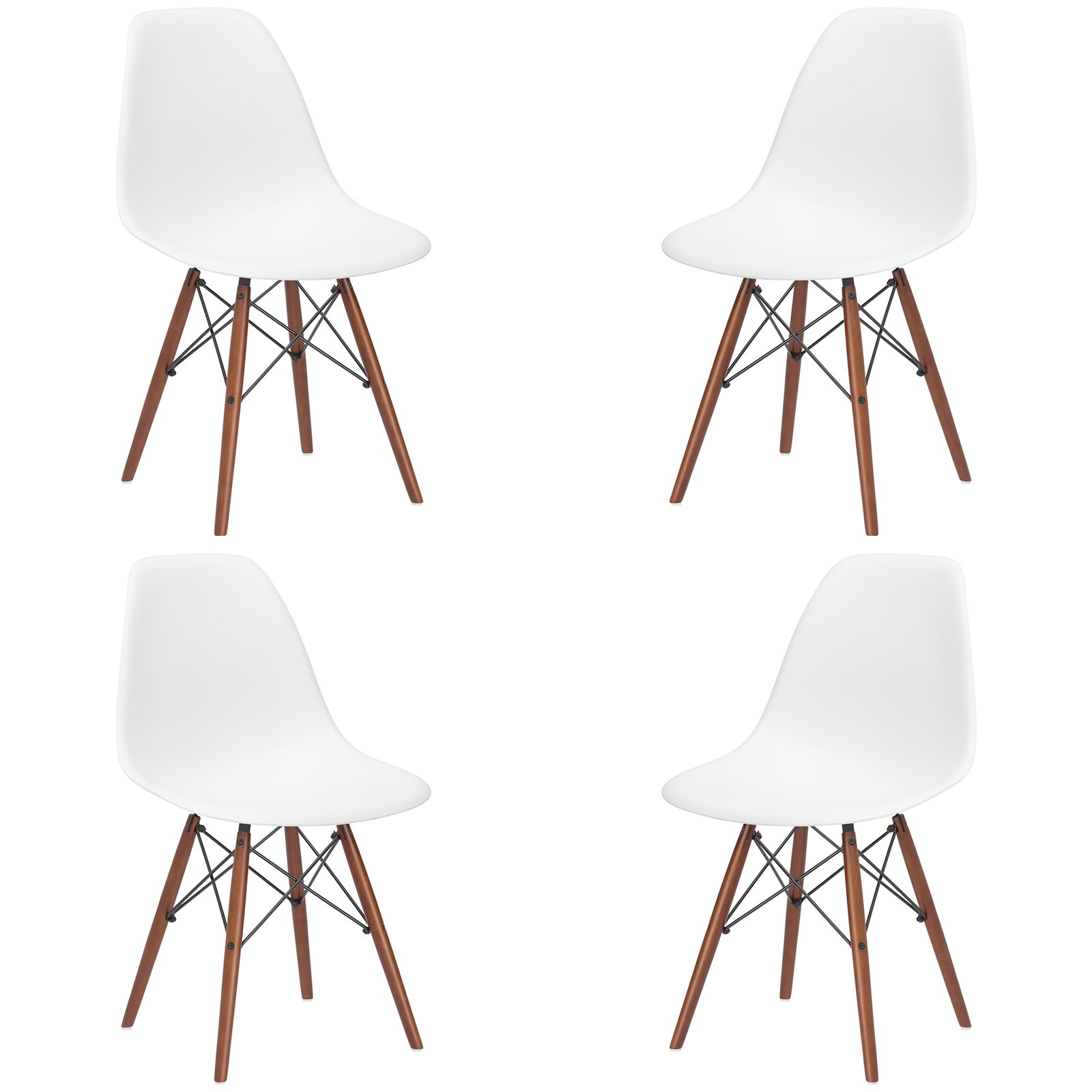 Poly and Bark Vortex Side Chair Walnut Legs, White, Set of 4 by Poly and Bark