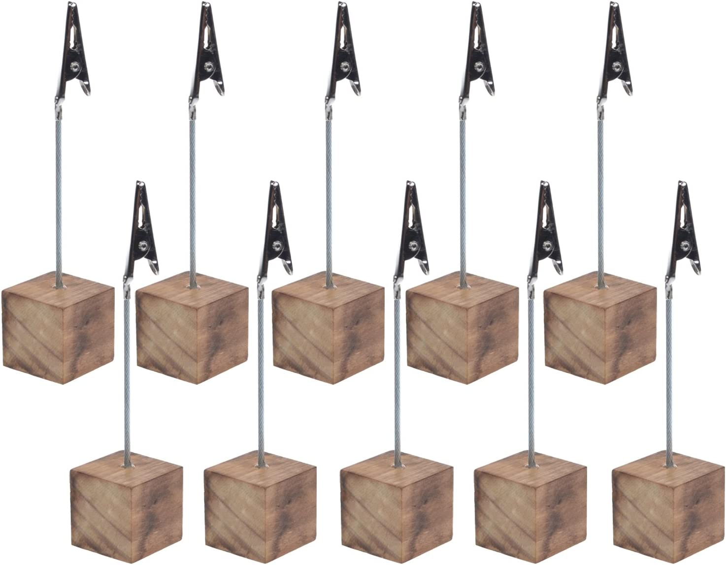Cosmos 10 Pcs Lightweight Cube Base Memo Clips Holder with Alligator Clip Clasp for Displaying Number Cards (Wooden Base): Kitchen & Dining