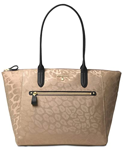ebc1488cd Michael Kors Kelsey Large Leopard Nylon Tote Bag - Truffle: Amazon.co.uk:  Shoes & Bags