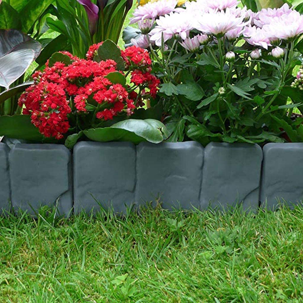 Black Garden Border Edging Section Set 20pcs Landscape Edging Kit Plastic Lawn Garden Edging Border Gardening Tools