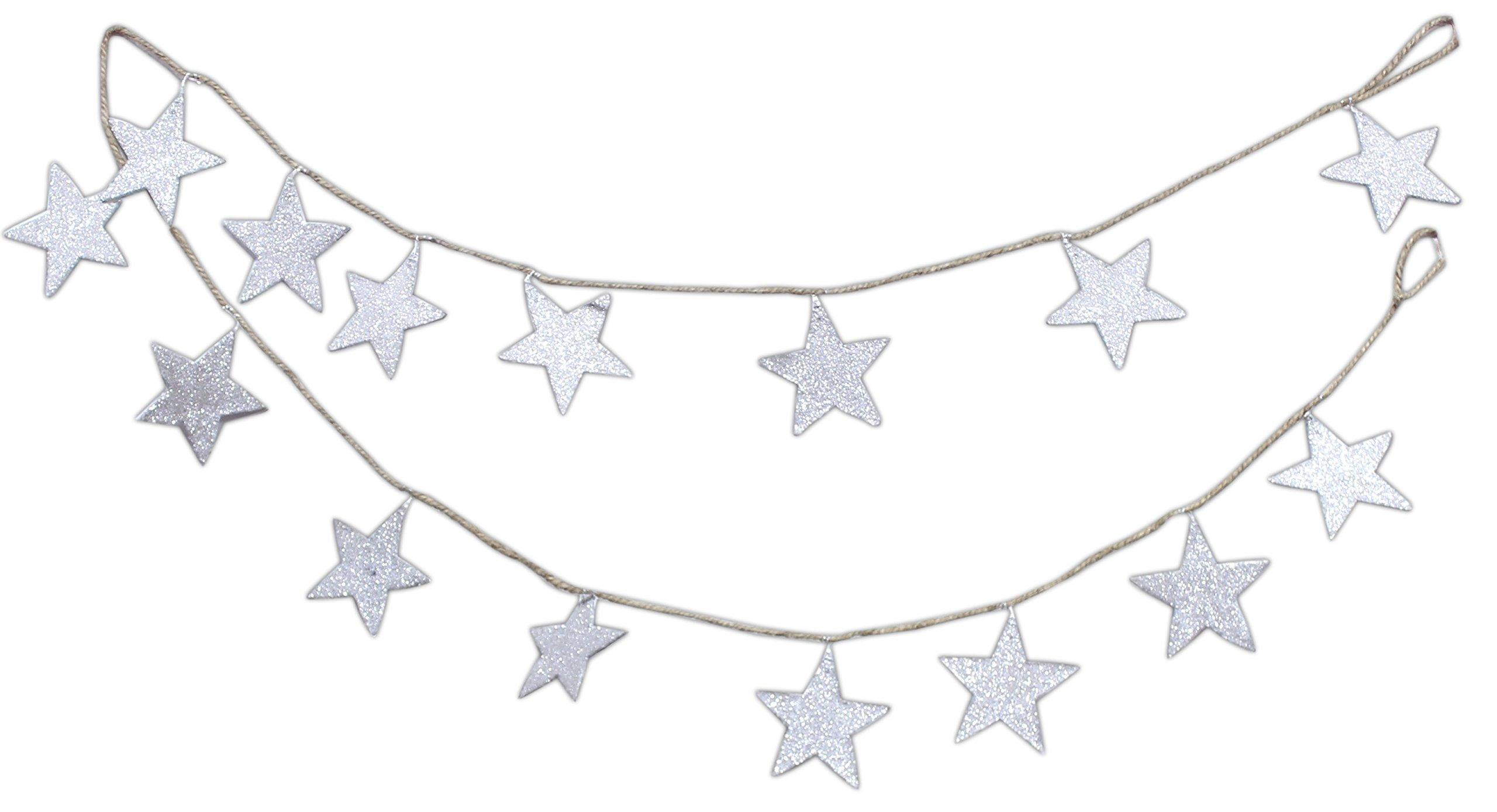 Silver Tree 6' Silver Glittered Stars Twine Garland