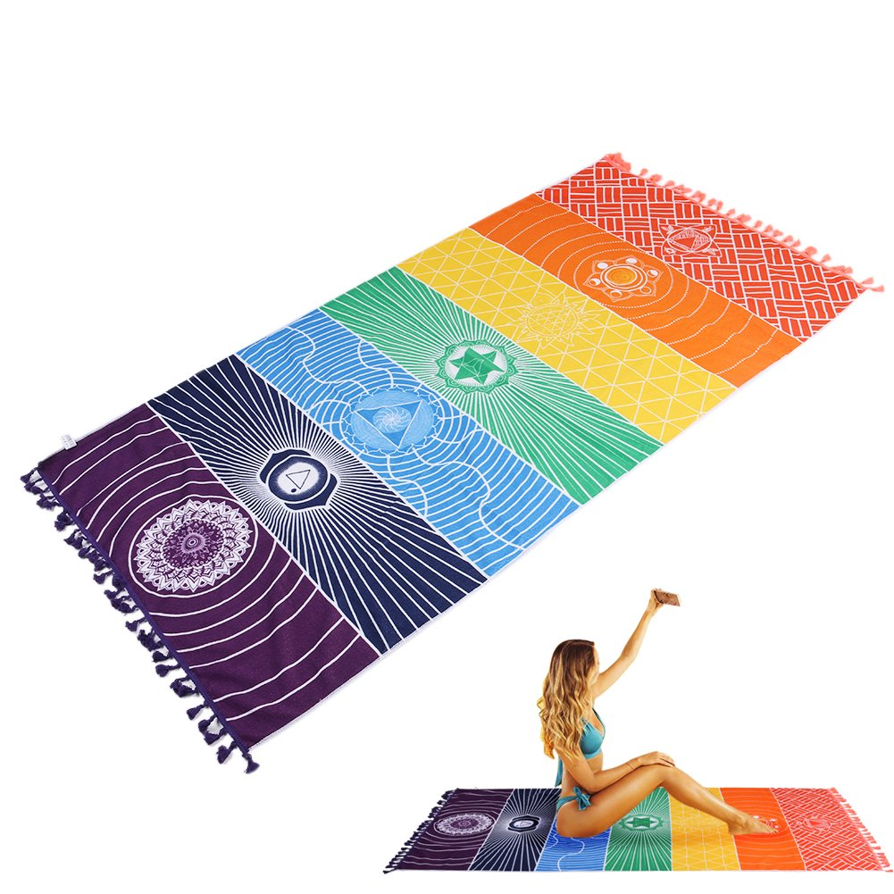 Asciugamano indiano Yoga Tapestry, Hippie Rainbow Chakra Arazzi Mandorli Bohemian Mandala Hang Hanging Beach Tappeto da YUMOMO (Arco iris)