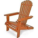 Chaise longue transat Adirondack en bois d'acacia bain de soleil jardin- pliable