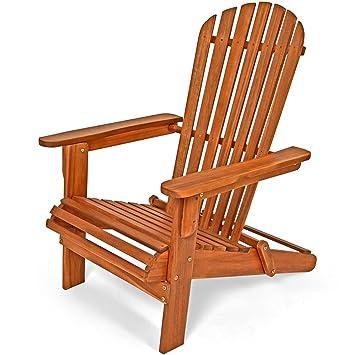 chaise longue transat adirondack en bois d'acacia bain de soleil ... - Chaise Longue Jardin Bois