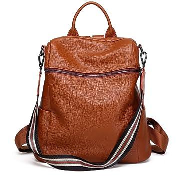b02c5dd38b Amazon.com  Neverout Women s Fashion Travel Bag Genuine Leather Backpack  Purse Girls Ladies Backpack Travel Bag(NP2058) (brown)  NEVEROUT